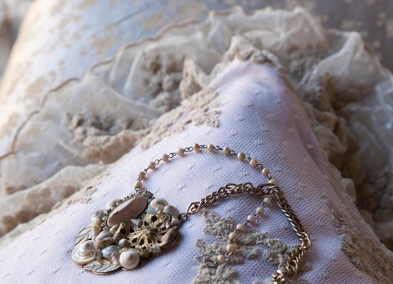 Olivia Standard Sham in Ginger over Linen Standard Sham in Petal, Colette Standard Sham in Sand