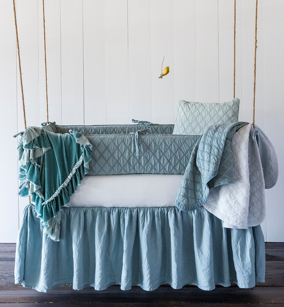 Chesapeake Bumper in Pacific, Madera Crib Sheet in Silvermist, Linen Crib Dust Ruffle in Pacific, Loulah Baby Blanket in Seaglass, Chesapeake Baby Blanket in Pacific, Chesapeake Baby Blanket in Silvermist, Chesapeake Throw Pillow in Seaglass