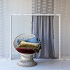 Loulah Kidney Pillows in Silvermist and Ginger, Silk Velvet Embroidered Curtain in Pebble
