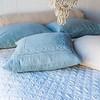 Homespun Bolster in Sand, Linen Standard Pillowcases in Pacific, Linen Standard Pillowcase in Sand, Homespun Throw Pillow in Pacific, Chesapeake Coverlet in Silvermist, Linen Flat Sheet in Sand