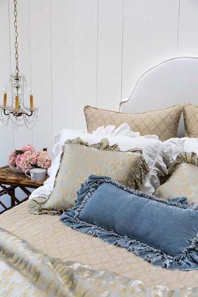 Note: Vivianne is a discontinued fabric. Chesapeake Euro Shams in Sand, Vivianne Standard Shams in White, Colette Throw Pillows in Silvermist, Loulah Kidney Pillow in Silvermist, Chesapeake Coverlet in Sand, Colette Personal Comforter in Silvermist, Velvet headboard with Satin piping in White