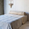 Homespun Bolster in Sand, Chesapeake Coverlet in Silvermist, Linen Fitted and Flat Sheet in Sand