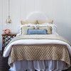 Chesapeake Euro Shams in Sand, Vivianne Standard Shams in White, Colette Throw Pillows in Silvermist, Loulah Kidney Pillow in Silvermist, Chesapeake Coverlet in Sand, Vivianne Duvet Cover in White, Colette Personal Comforter in Silvermist, Linen Dust Ruffle in White, Velvet headboard with Satin piping in White