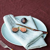 Note: Bordeaux is a discontinued color. Linen Whisper Tablecloth in Bordeaux, Linen Napkin in Seaglass