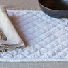 Linen Whisper Tablecloth in Pebble, Silk Velvet Quilted Place Mat in White, Linen Napkin in Pebble, Linen Whisper Napkin in Pebble