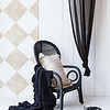 Velvet with Satin Large Throw Blanket in Ebony, Homespun Standard Sham in Sand, Valentina Curtain in Ebony