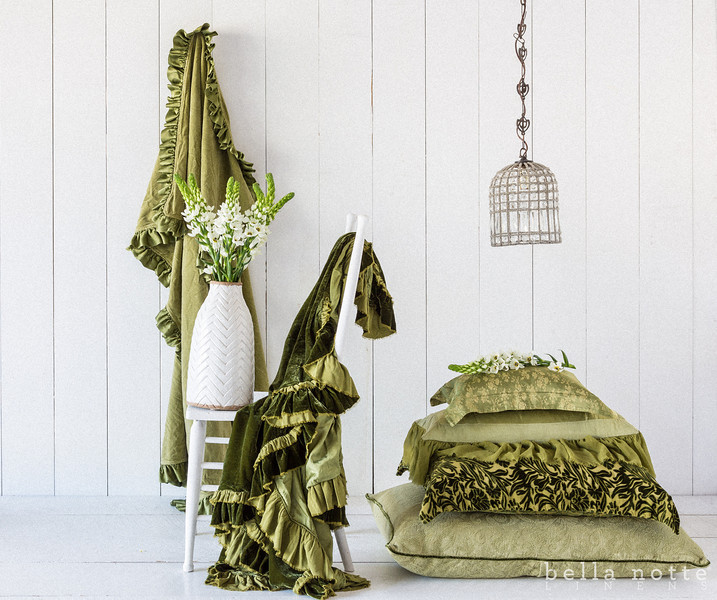 Note: New Primrose is a discontinued fabric. All in Bottle Green: Velvet with Satin Large Throw Blanket, Loulah Large Throw Blanket, Colette Boudoir, Valentina Kidney Pillow, New Primrose Standard Sham, and Adele Deluxe Sham