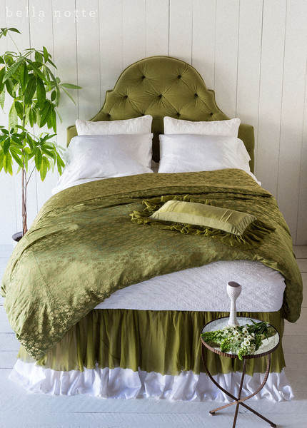 Chesapeake Queen Coverlet in White, Bella Queen Flat Sheet in White, Chesapeake Standard Shams in White, Satin with Venise Lace Pillowcases in White, Colette Queen Duvet Cover in Bottle Green, Valentina Queen Dust Ruffle in Bottle Green, Satin Queen Dust Ruffle in White
