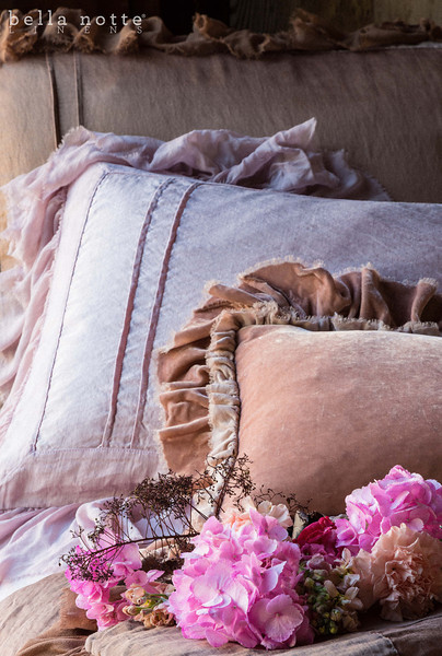 Note: Fawn and Rose Quartz are discontinued colors.Valentina Deluxe Sham in Fawn, Valentina Standard Sham in Rose Quartz, Loulah Kidney Pillow in Perfect Peach