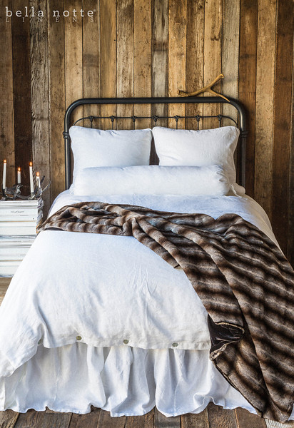 Velvet with Satin Euro Shams in White, Linen Bolster in White, Linen Queen Duvet Cover in White, Linen Queen Flat Sheet in White, Empress Large Throw Blanket backed in Sable Silk Velvet, Linen Queen Dust Ruffle in White