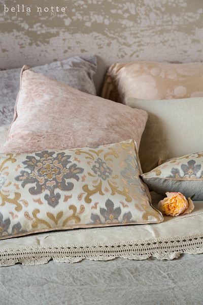 Mirabella Euro Sham in Perfect Peach, Linen with Crochet Lace Standard Pillowcase in Sand, Linen with Crochet Lace Flat Sheet in Sand, Harper Queen Duvet, Isla Accent Pillows in Warm, Hendrix 20x20 Throw Pillow in Powder, Hendrix 20x20 Throw Pillow in Perfect Peach