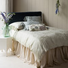 Mirabella Euro Sham in Sand, Mirabella Queen Duvet Cover in Sand,Camille Accent Throw Pillow in Cool, Mirabella Standard Shams in Mineral, Madera Queen Fitted Sheet in Sand, Madera Queen Flat Sheet in Sand, Linen Queen Dust Ruffle in Sand, Headboard covered in Silk Velvet Yardage in Mineral