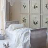 Valentina Personal Comforter in White, Valentina Personal Comforter in Champagne, Valentina Standard Sham in White, Loulah Kidney Pillow in Champagne, Daybed upholstered in Linen Whisper in White, Linen Whisper Curtain in White, Linen Whisper Curtain in Champagne with Ruffle