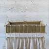 Silk Velvet Quilted Bumper in Sand, Madera Crib Sheet in Sand, Linen Whisper Crib Skirt in Sand