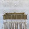 Silk Velvet Quilted Bumper in Sand, Madera Crib Sheet in Sand, Linen Whisper Crib Skirt in Sand