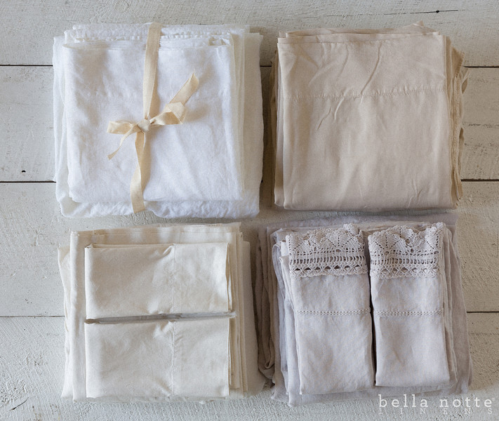 Linen Sheets in White, Madera Sheets in Sand, Trecento Sheets in Champagne, Linen Sheets with Crochet Lace in Pebble