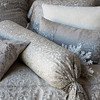 Allegra Queen Coverlet over Linen Queen Duvet Cover in Champagne, Allegra Deluxe Sham, Allegra Standard Pillowcase over Linen Standard Pillowcase in Champagne, Allegra Kidney Pillow, Hendrix Standard Sham in Champagne, Allegra Bolster over Linen Bolster in Champagne, Grace Kidney Pillow, Allegra Curtain Panel