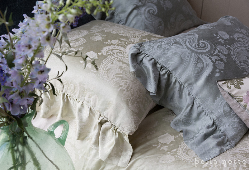 Mirabella Euro Sham in Sand, Mirabella Queen Duvet Cover in Sand, Mirabella Standard Shams in Mineral, Camille Accent Throw Pillow in Cool