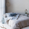 Harper Queen Duvet Cover, Harper Deluxe Sham, Linen Queen Fitted Sheet in Mineral, Linen Queen Flat Sheet in Mineral, Harper Standard Sham, Linen Standard Sham in Mineral, Homespun Euro Sham with Self Flange in Mineral, Silk Velvet Quilted Kidney Pillow in Mineral, Linen Whisper Curtains in Mineral