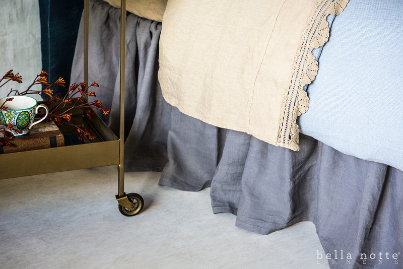 Linen Queen Dust Ruffle in French Grey, Linen Queen Fitted Sheet in Ginger, Linen with Crochet Lace Flat Sheet in Ginger, Homespun Duvet Cover in Mineral