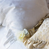 Mirabella Euro in White, Colette 18x18 Throw Pillow in Champagne