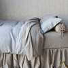 Harper Bolster, Homespun Euro Shams with Self Flange in Mineral, Harper Queen Fitted Sheet, Harper Queen Flat Sheet, Homespun Queen Duvet Cover in Mineral, Harper Queen Dust Ruffle