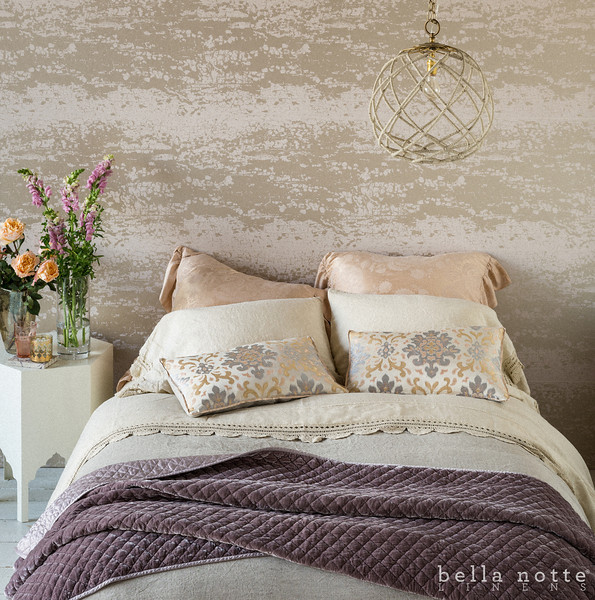 Mirabella Euro Shams in Perfect Peach, Linen with Crochet Lace Standard Pillowcases in Sand, Linen Queen Fitted Sheet in Sand, Linen with Crochet Lace Flat Sheet in Sand, Harper Queen Duvet, Isla Accent Pillows in Warm, Silk Velvet Quilted Throw Blanket in Powder