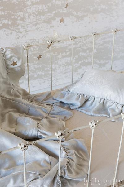 Mirabella Baby Comforter in Pebble, Mirabella Boudoir Pillow in Pebble, Madera Crib Sheet in Sand