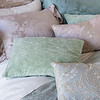 Trecento Standard Pillowcase in Champagne, Mirabella Deluxe Sham in Pacific, Mirabella Standard Sham in Powder, Hendrix Standard Shams in Mint Julep, Nina Accent Throw Pillow in Warm, Nina Accent Throw Pillow in Cool, Trecento Queen Flat Sheet in Champagne, Mirabella Queen Duvet Cover in Mineral,