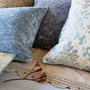 Hendrix Deluxe Sham in French Grey, Isla 22x22 Throw Pillow in Cool, Isla Accent Throw Pillow in Cool, Hendrix 20x20 Throw Pillow in French Grey, Hendrix 20x20 Throw Pillow in Ginger, Linen with Crochet Lace Queen Flat Sheet in Ginger, Homespun Queen Duvet Cover in Mineral