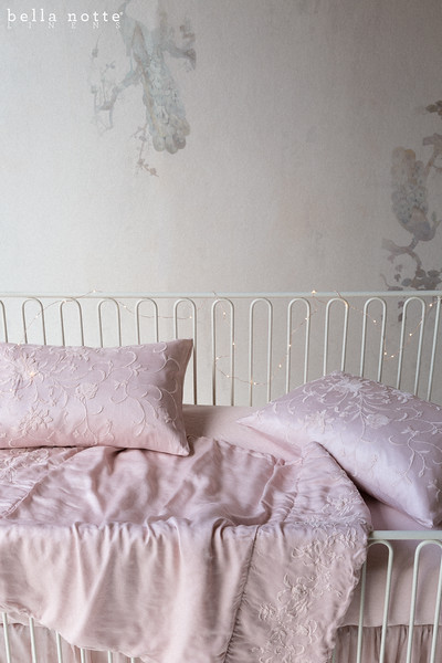 Josephine Baby Comforter in Heirloom Rose, Josephine Accent Pillow in Heirloom Rose, Linen Crib Sheet in Heirloom Rose, Satin Baby Dust Ruffle in Heirloom Rose