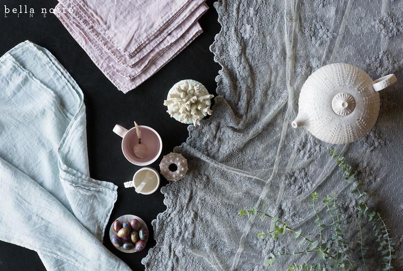 Olivia 72x108 Tablecloth in Mineral, Linen Napkins in Powder, Linen Whisper Napkin in Seaglass