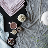Olivia 72x108 Tablecloth in Mineral, Linen Napkins in Powder, Linen Whisper Napkin in Seaglass
