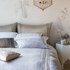 Arielle Queen Duvet Cover in Pebble, Arielle Deluxe Shams in Flax, Linen Queen Flat Sheet in Winter White, Linen Standard Shams in Winter White, Arielle Accent Pillow in Winter White, Arielle Accent Pillow in French Grey, Josephine Accent Pillow in Pebble, Josephine Accent Pillow in Sand