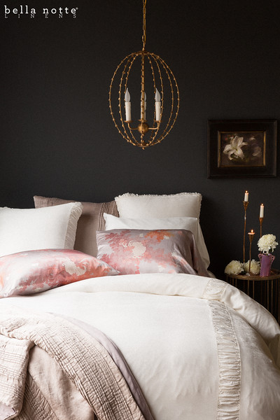 Sloan Euro Shams In Winter White, Arielle Euro Sham In Powder, Ophelia Pillowcases In Warm, Madera Standard Pillowcases In Winter White, Sloan Queen Duvet Cover In Winter White, Arielle Personal Comforter In Powder, Ophelia Personal Comforter In Warm