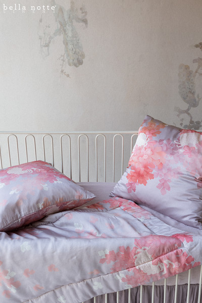 Ophelia Baby Comforter in Warm, Ophelia Throw Pillow in Warm, Linen Crib Sheet in Powder, Satin Baby Dust Ruffle in Powder