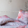 Ophelia Baby Comforter in Warm, Ophelia Throw Pillow in Warm, Linen Crib Sheet in Powder, Satin Baby Dust Ruffle in Powder