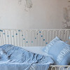 Sloan Baby Comforter in Silvermist, Sloan Accent Pillow in Silvermist, Madera Crib Sheet in Silvermist, Satin Baby Dust Ruffle in Silvermist