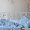 Sloan Baby Comforter in Silvermist, Sloan Accent Pillow in Silvermist, Madera Crib Sheet in Silvermist, Satin Baby Dust Ruffle in Silvermist