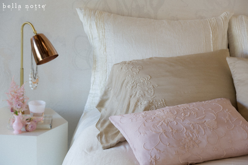 Arielle Deluxe Shams in Winter White, Josephine Standard Pillowcases in Sand, Josephine Accent Pillows in Heirloom Rose, Madera Queen Duvet Cover in Sand