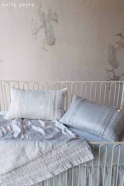 Arielle Baby Comforter in Silvermist, Arielle Accent Pillow in Silvermist, Arielle Accent Pillow in Winter White, Trecento Crib Sheet in Silvermist, Linen Baby Dust Ruffle in Silvermist