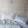 Arielle Baby Comforter in Silvermist, Arielle Accent Pillow in Silvermist, Arielle Accent Pillow in Winter White, Trecento Crib Sheet in Silvermist, Linen Baby Dust Ruffle in Silvermist