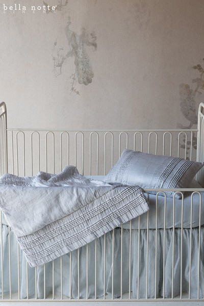 Arielle Baby Comforter in Silvermist, Arielle Accent Pillow in Silvermist, Trecento Crib Sheet in Silvermist, Linen Baby Dust Ruffle in Silvermist