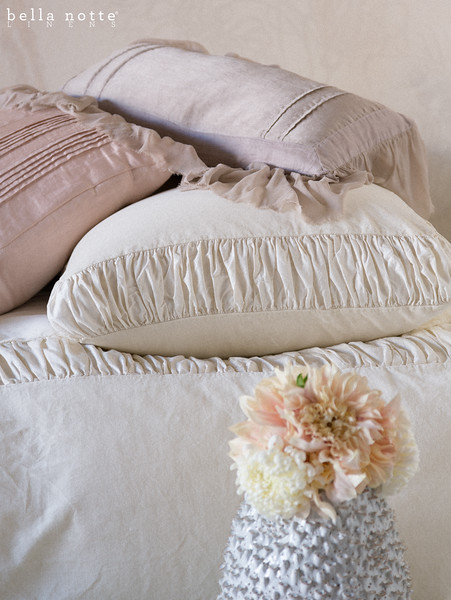 Chloe Queen Duvet Cover in Champagne, Chloe Euro Sham in Champagne, Arielle Euro Shams in Heirloom Rose, Valentina Kidney Pillow in Powder