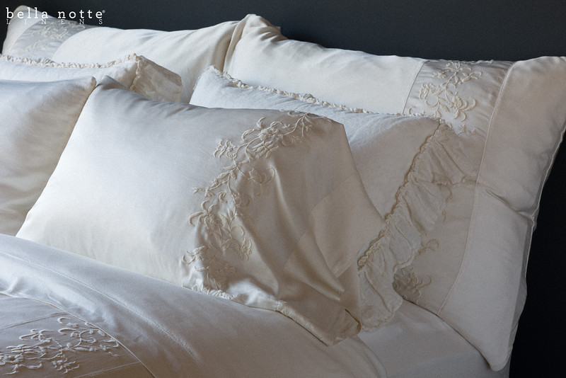 Josephine Deluxe Shams, Josephine Pillowcases, and Josephine Duvet Cover with Linen Whisper Standard Shams, Madera Fitted and Flat Sheet all in Champagne