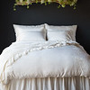Josephine Deluxe Shams, Josephine Pillowcases, and Josephine Duvet Cover with Linen Whisper Standard Shams, Linen Whisper Bed Scarf, and Linen Whisper Bed Skirt all in Champagne