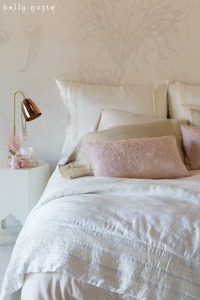 Arielle Deluxe Shams in Winter White, Madera Standard Pillowcases in Sand, Josephine Standard Pillowcases in Sand, <br /> Arielle Personal Comforter in Winter White, Josephine Accent Pillows in Heirloom Rose, Madera Queen Duvet Cover in Sand