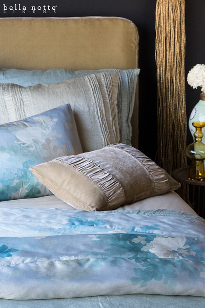 Madera Duvet Cover in Ginger, Arielle Deluxe Sham in Seaglass, Arielle Euro Sham in Sand, Ophelia Standard Pillowcase in Cool, Ophelia Personal Comforter in Cool, Sloan Accent Pillow in Sand
