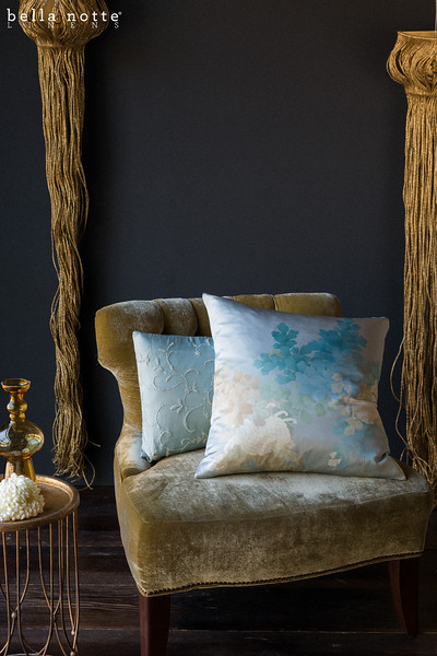 Ophelia Throw Pillow in Cool, Jospehine Accent Pillow in Seaglass, and chair upholstered with Silk Velvet Yardage in Ginger