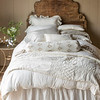 Isabella Euro Shams in Champagne, Isabella Pillowcases in Winter White, Lillian Pillowcases in Champagne, Helane Kidney Pillow in Champagne, Capri Accent Pillow in Champagne, Olivia Bolster in Sand over Linen Bolster in Champagne, Isabella Flat Sheet in Winter White, Emerson Personal Comforter in Champagne, Isabella Duvet Cover in Champagne, Linen Bed Skirt in Winter White